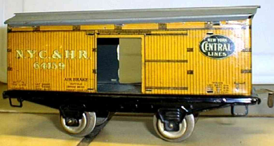 ives 564 (1922) railway toy box car, 2-axis, came in a 1922 only set