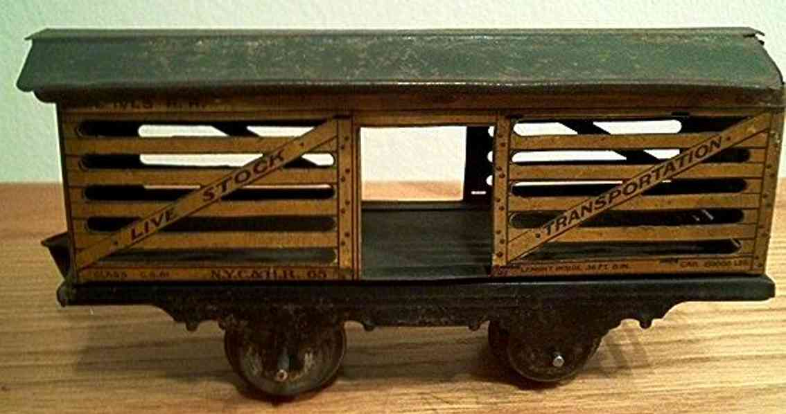 ives 565 (1916) railway toy stock car; 2-axis; later litho with earlier frame