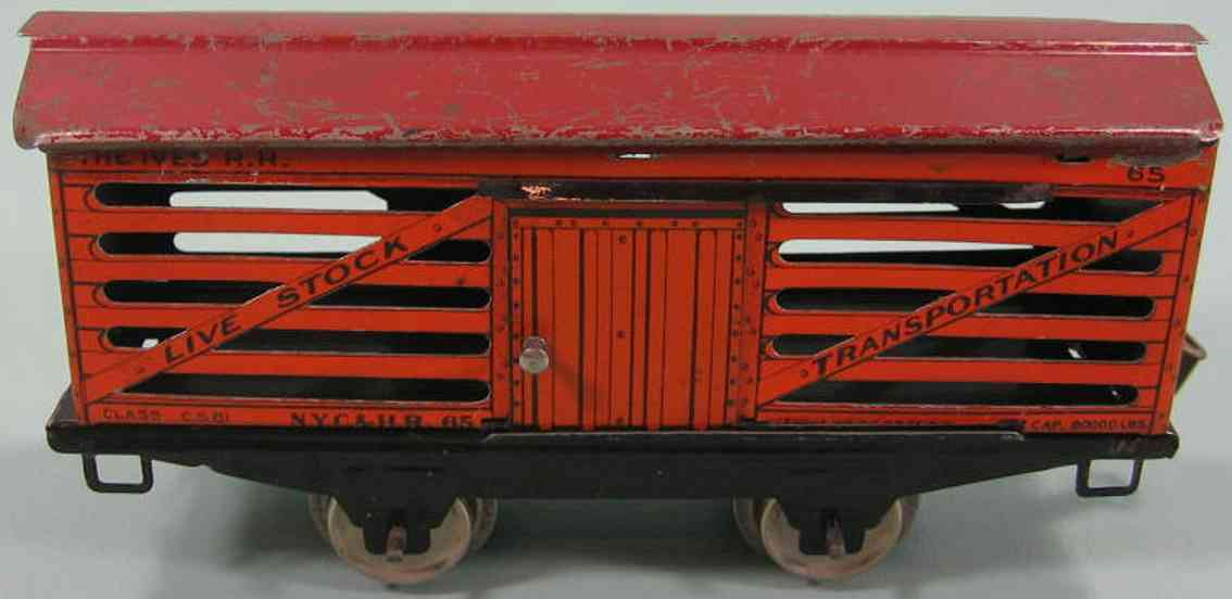 ives 565 (1928) railway toy stock car; 2-axis; red roof