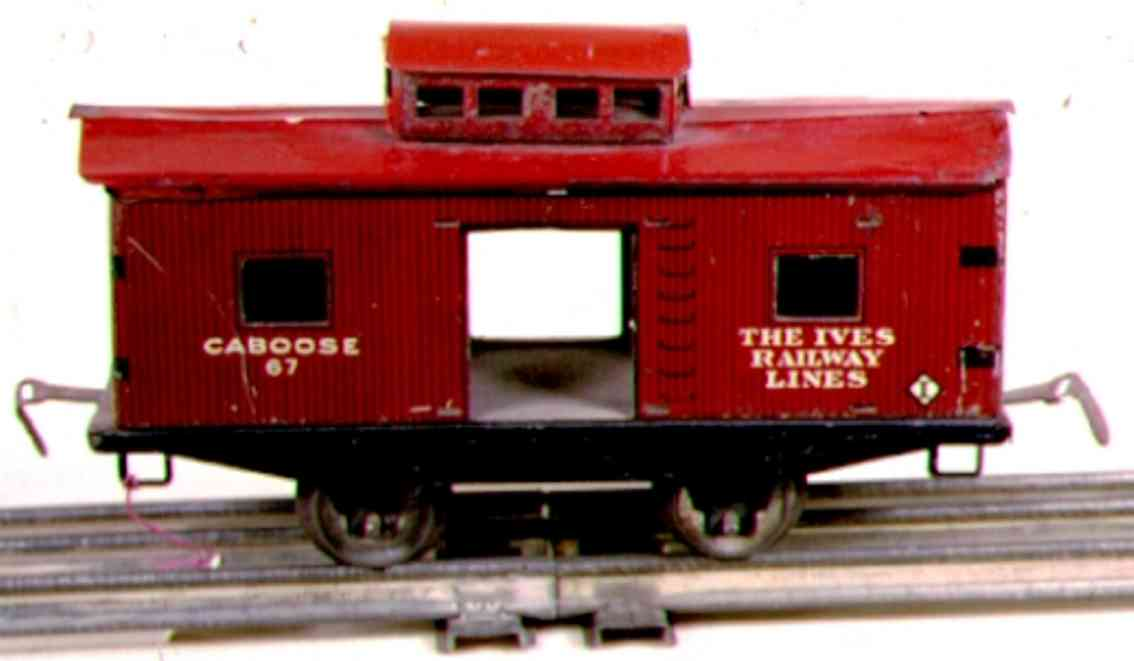ives 567 (1925) railway toy caboose; 2-axis, bright red, white lettering, red roof