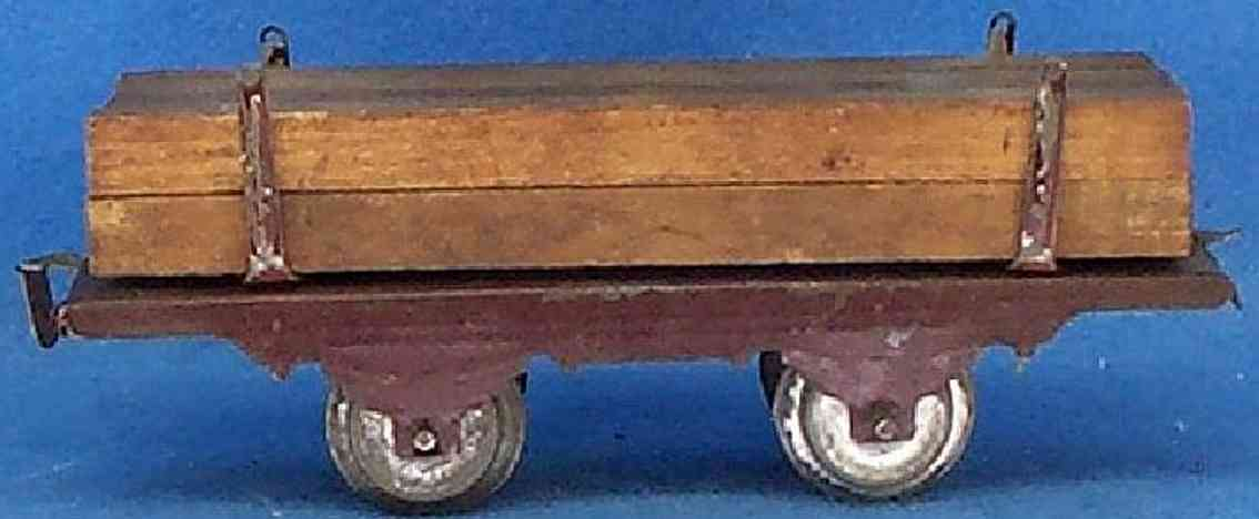 ives 569 (1913) railway toy lumber car; 2-axis, has the early frame, probably all lumber