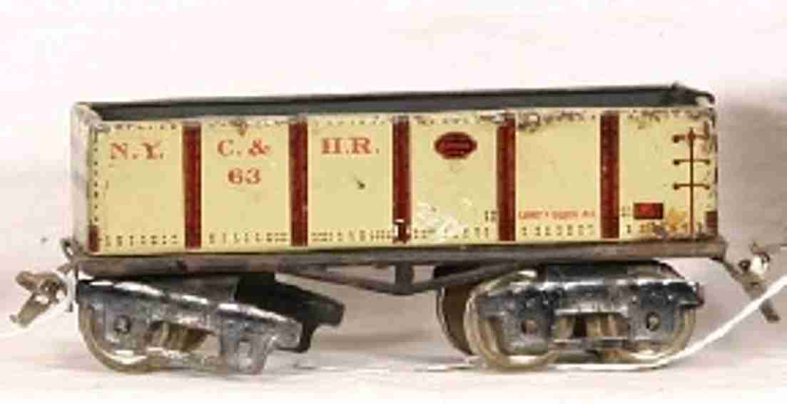 ives 63 railway toy gondola grey and red
