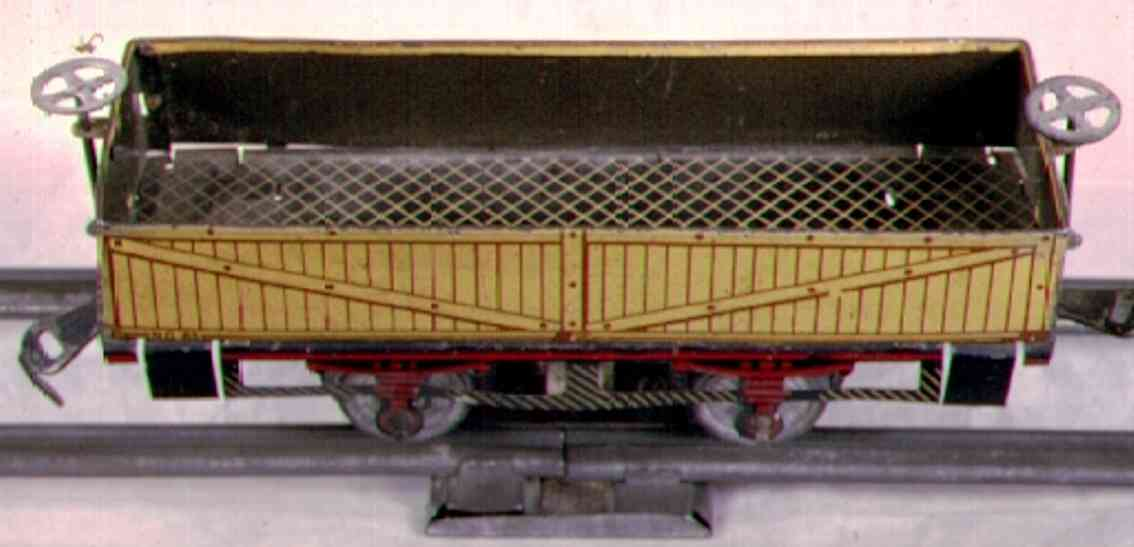 ives 63 (1904) railway toy gondola striped lithograph, frame with imitation red springs