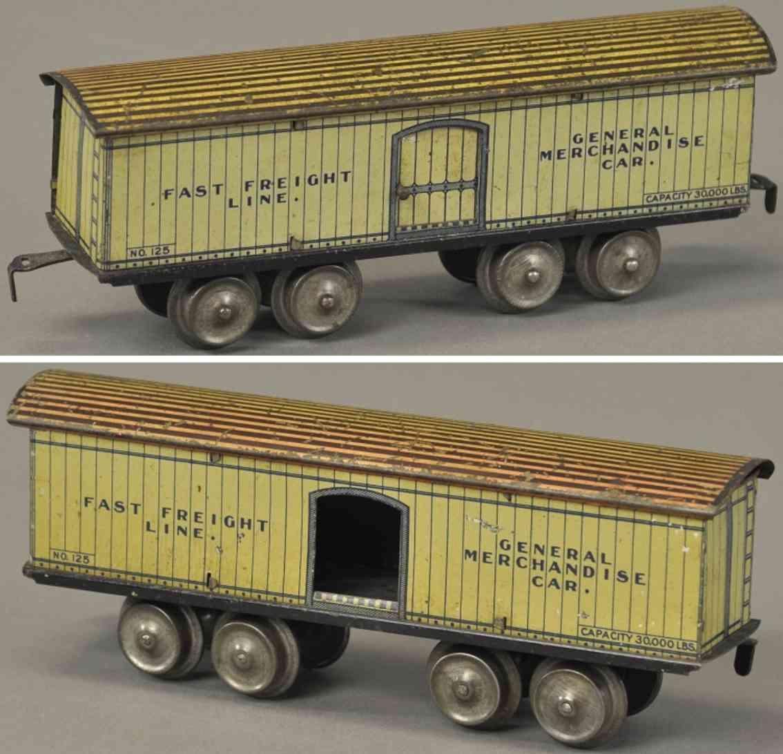 ives 64 1904 spielzeug eisenbahn  gedeckter gueterwagen spur 0