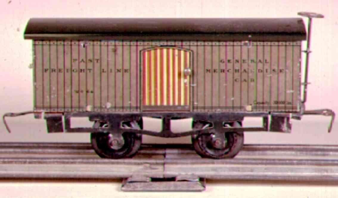 ives 64 (1909) railway toy box car with one colored frame and roof and striped doors,
