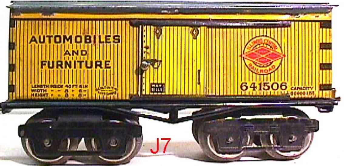 ives 641506 spielzeug eisenbahn gedeckter gueterwagen illinois central  gelb spur 0