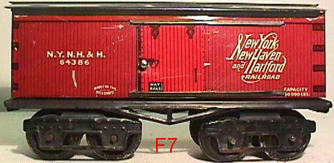 ives 64386 1918 spielzeug eisenbahn gedeckter gueterwagen braun spur 0