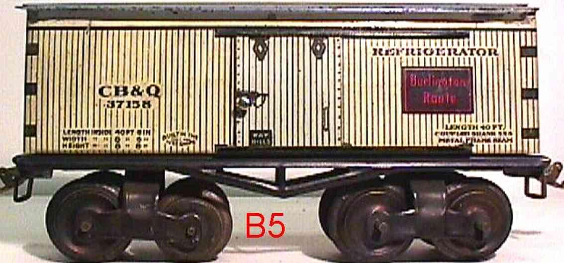 ives 64 cb&q 1916 railway toy box refrigerator car white 37155 hallo effect gauge 0
