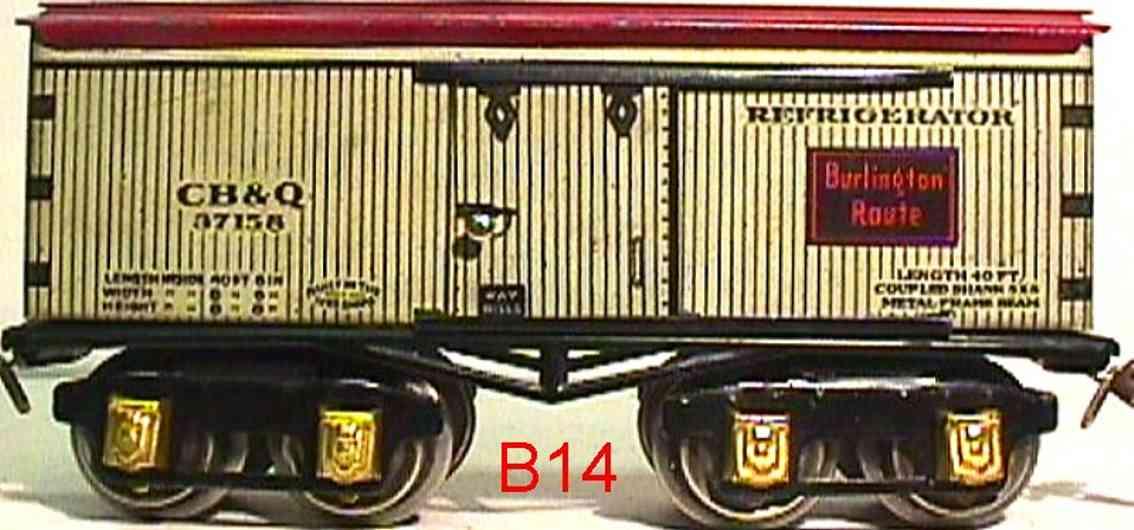 ives 64 cb&q 1930 railway toy box refrigerator car white 37158 gauge 0