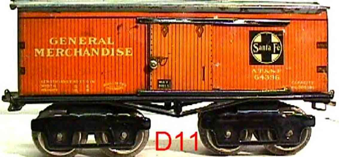 ives 64 SANTA FE (1923) railway toy box car; 4-axis; lithographed with corner braces, lettering