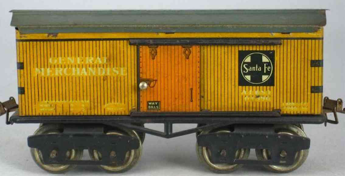 ives 64 SANTA FE (1925) railway toy box car; 4-axis; lithographed with corner braces, lettering