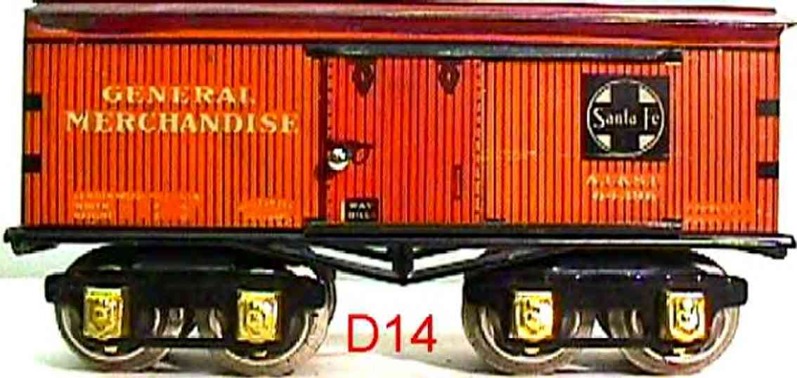 ives 64 SANTA FE (1930) railway toy box car; 4-axis; lithographed with corner braces, lettering