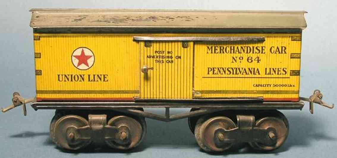 ives 64 UNION (1916) railway toy box car; 4-axis; lithographed non-embossed frame,  t-truck,