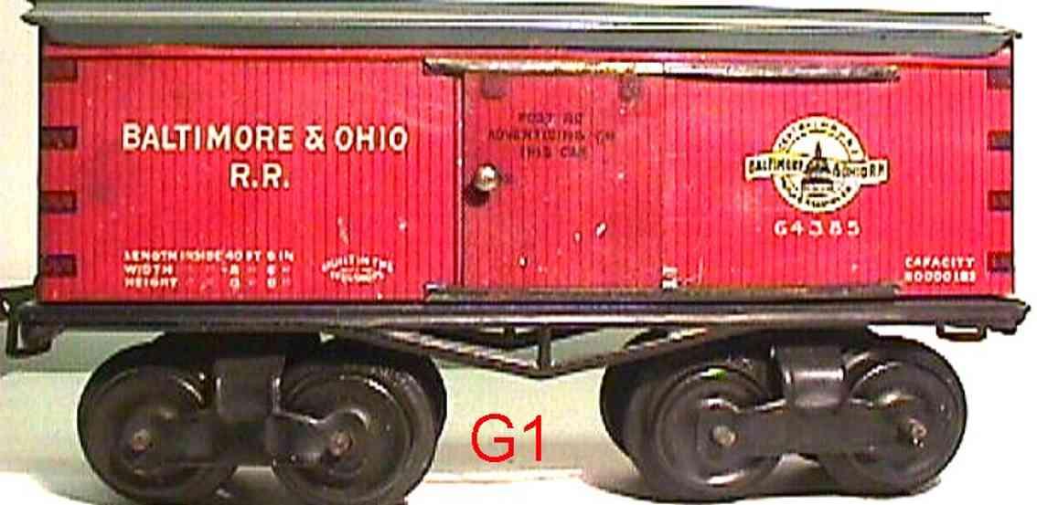 ives 64 baltimore&ohio 1913 spielzeug eisenbahn gedeckter gueterwagen 64385 spur 0