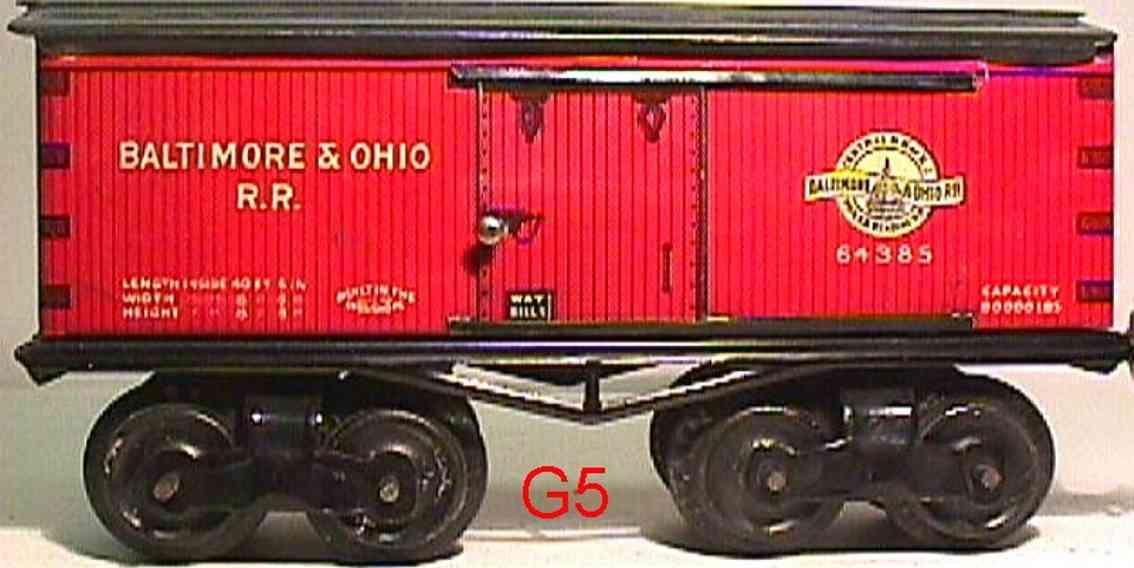 ives 64 baltimore&ohio 1916 spielzeug eisenbahn gedeckter gueterwagen 64385 spur 0