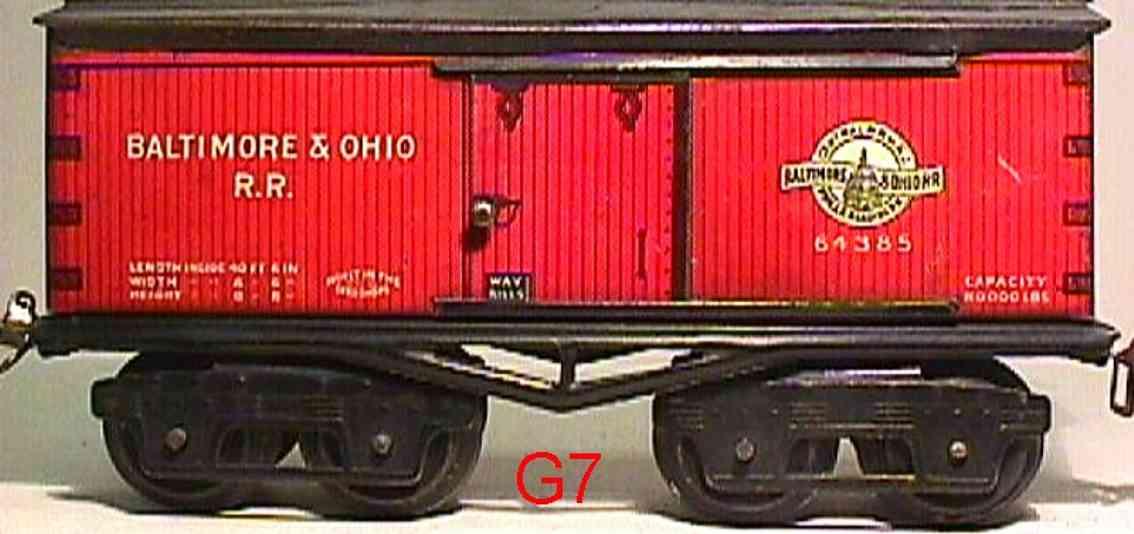 ives 64 baltimore&ohio 1918 railway toy box car 64385 gauge 0
