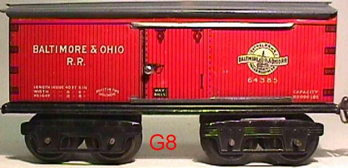ives 64 baltimore&ohio 1919 spielzeug eisenbahn gedeckter gueterwagen 64385 spur 0