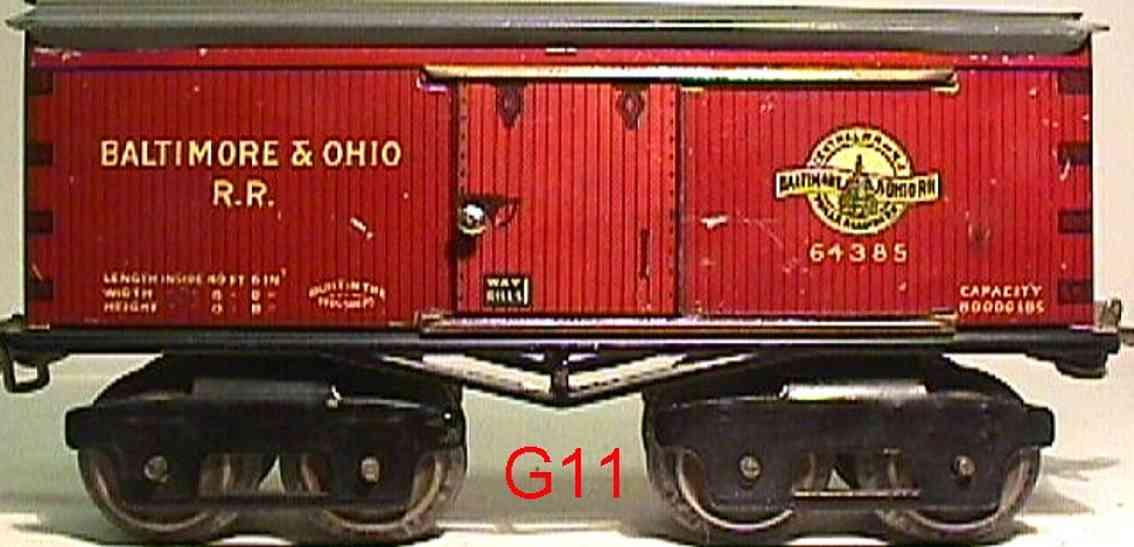 ives 64 baltimore&ohio 1923 spielzeug eisenbahn gedeckter gueterwagen 64385 spur 0