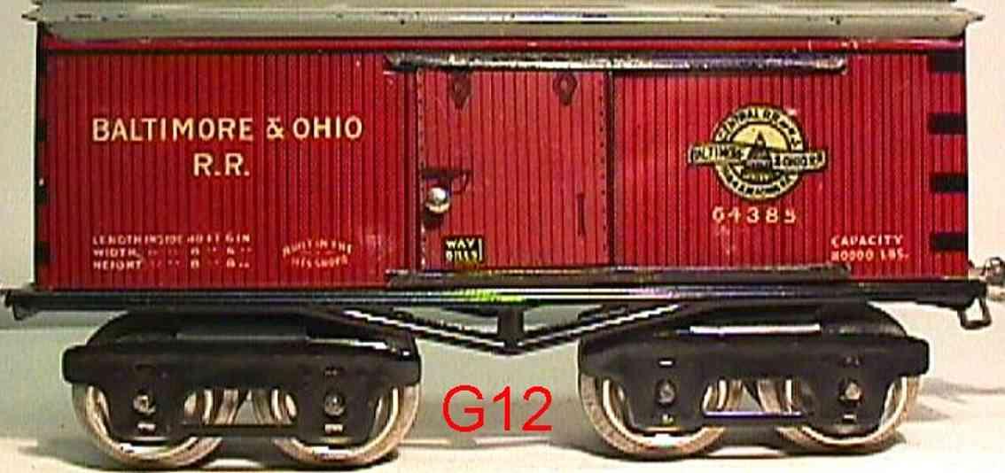 ives 64 baltimore&ohio 1925 spielzeug eisenbahn gedeckter gueterwagen 64385 spur 0