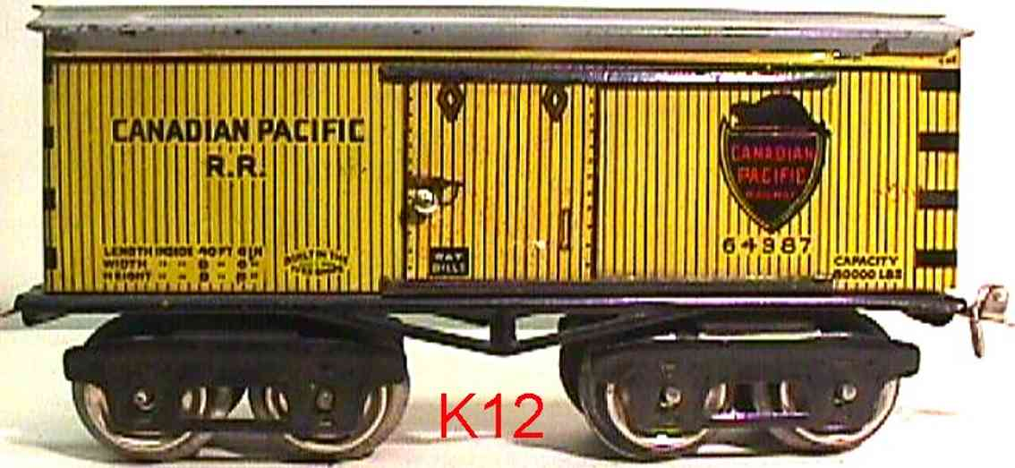 ives 64 Canadian railway toy box car box car gauge 0 canadian pacific 64387