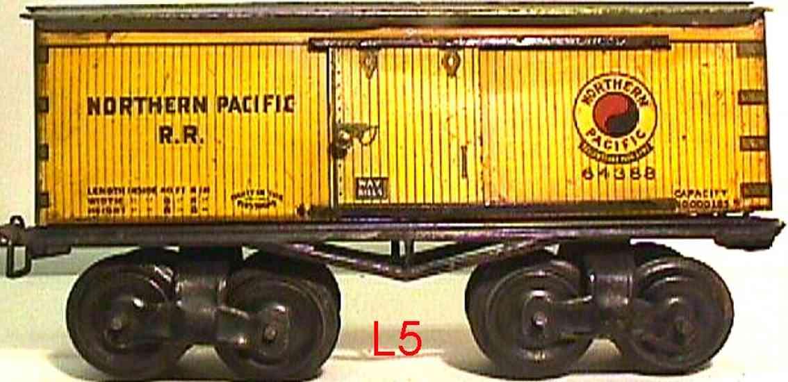 ives 64 1916 spielzeug eisenbahn gedeckter gueterwagen northern pacific rr gelb spur 0