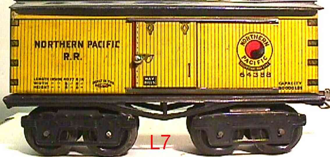 ives 64 1918 railway toy box car northern pacific rr yellow 64388 gauge 0