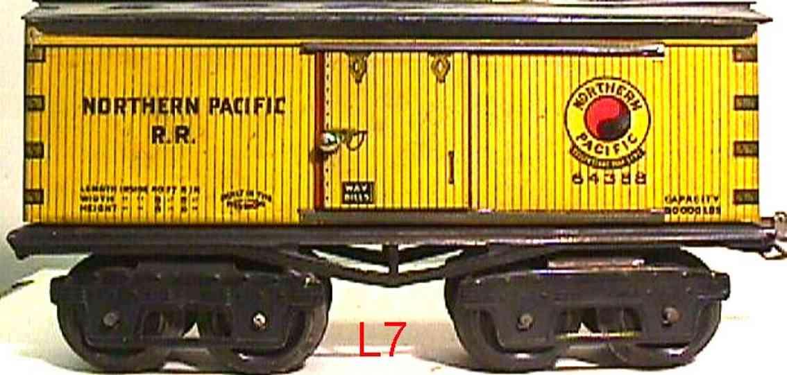 ives 64 1918 spielzeug eisenbahn gedeckter gueterwagen northern pacific rr gelb spur 0