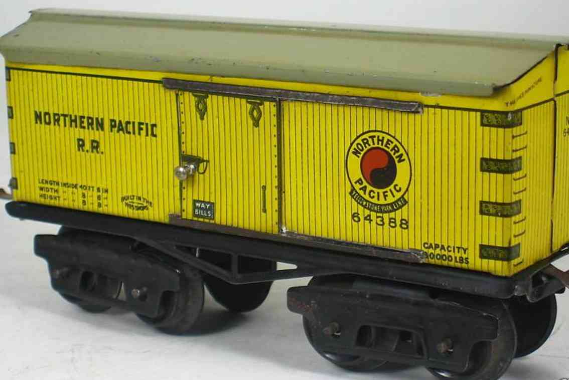 ives 64 1922 railway toy box car northern pacific rr yellow 64388 gauge 0