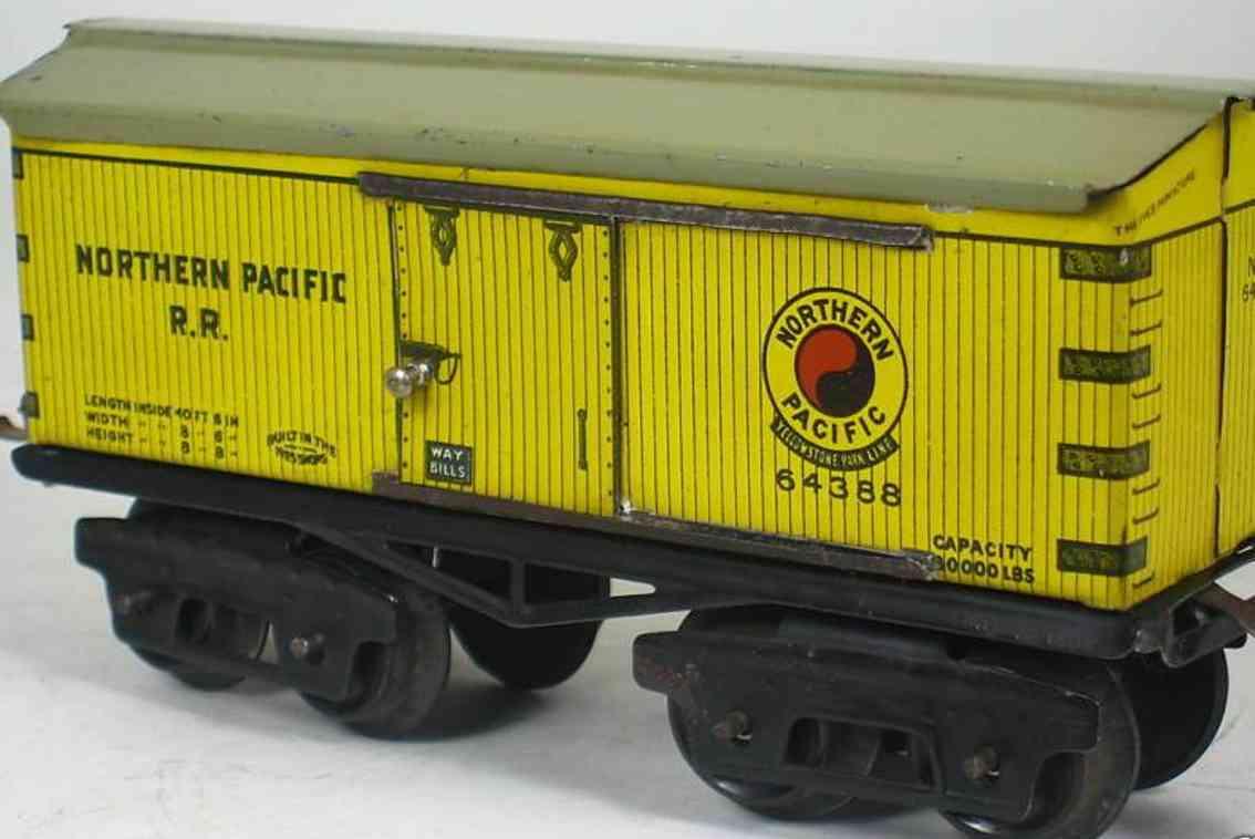 ives 64 1922 spielzeug eisenbahn gedeckter gueterwagen northern pacific rr gelb spur 0