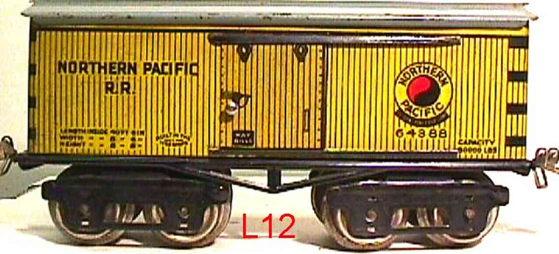 ives 64 1925 railway toy box car northern pacific rr yellow 64388 gauge 0