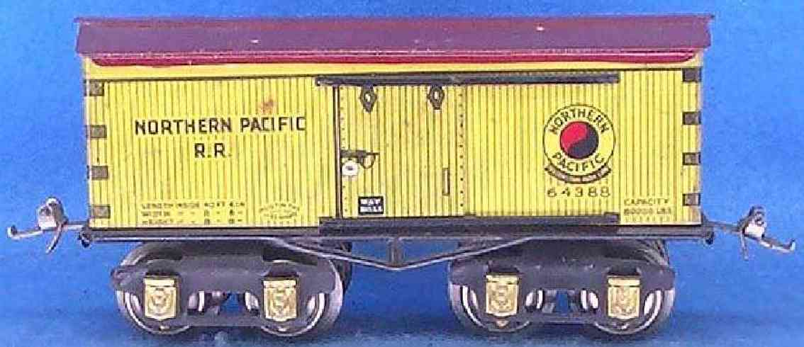 ives 64 1930 railway toy box car northern pacific rr yellow 64388 gauge 0