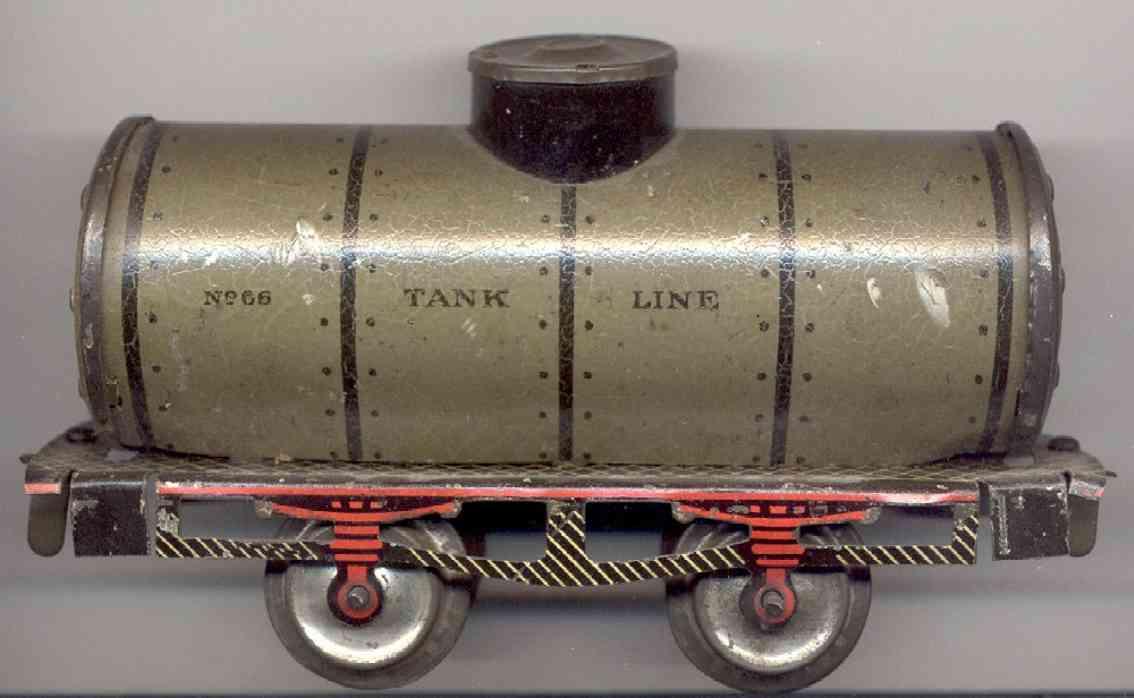 ives 66 railway toy box car tank car green black gauge 0 green