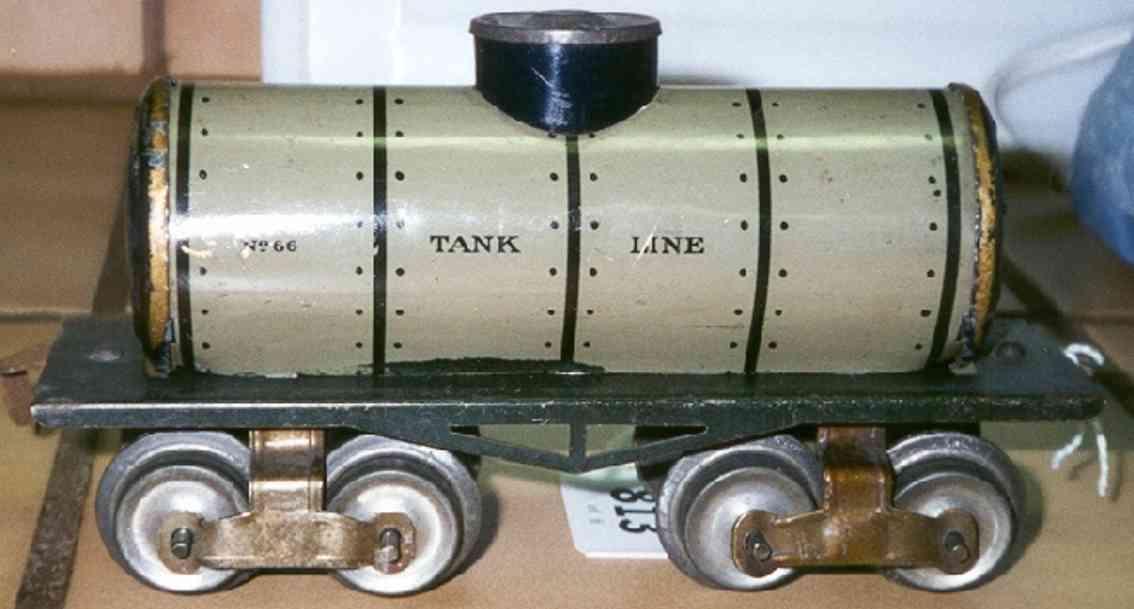 ives 66 1910 railway toy box car tank car gauge 0 gray