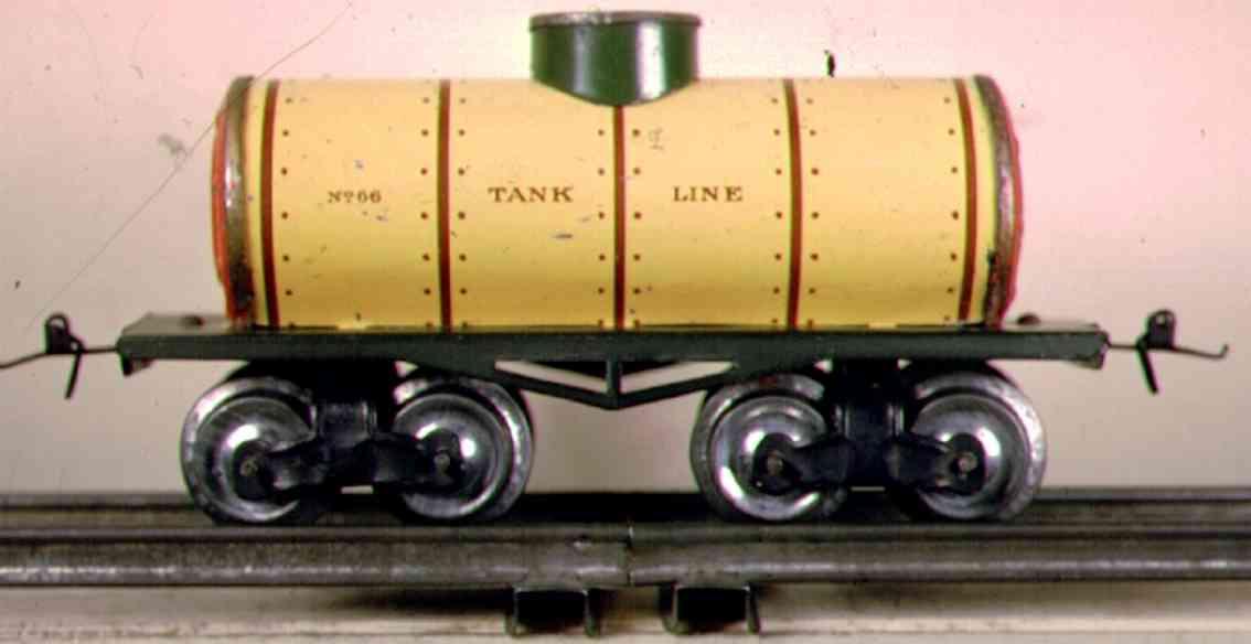 ives 66 1912 railway toy box car tank car gauge 0 cream