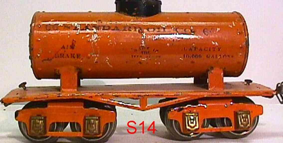 ives 66 1930 toy tank car standard oil co orange gauge 0 solid rivets journal boxes