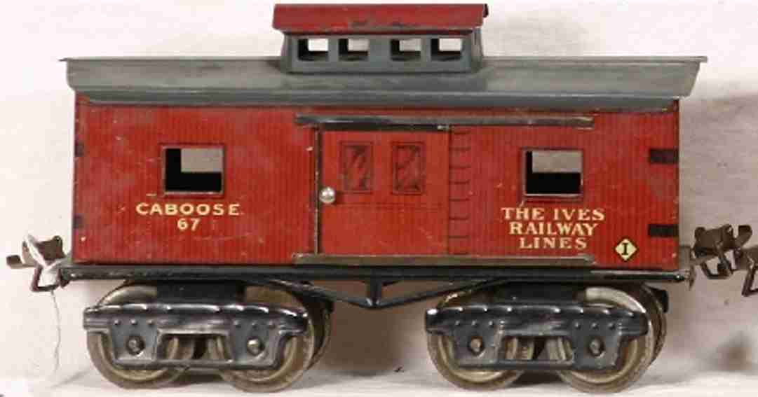ives 67 railway toy caboose #67 dark lithographed brown wood-scribed, blue-gray