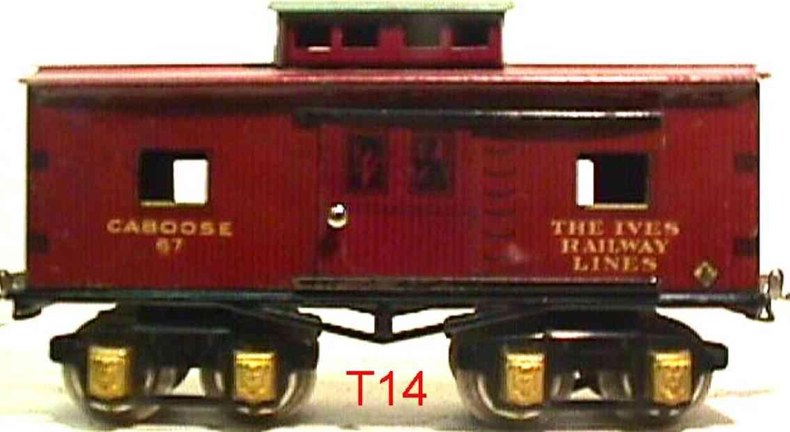 ives 67 1930 railway toy caboose brown gauge 0
