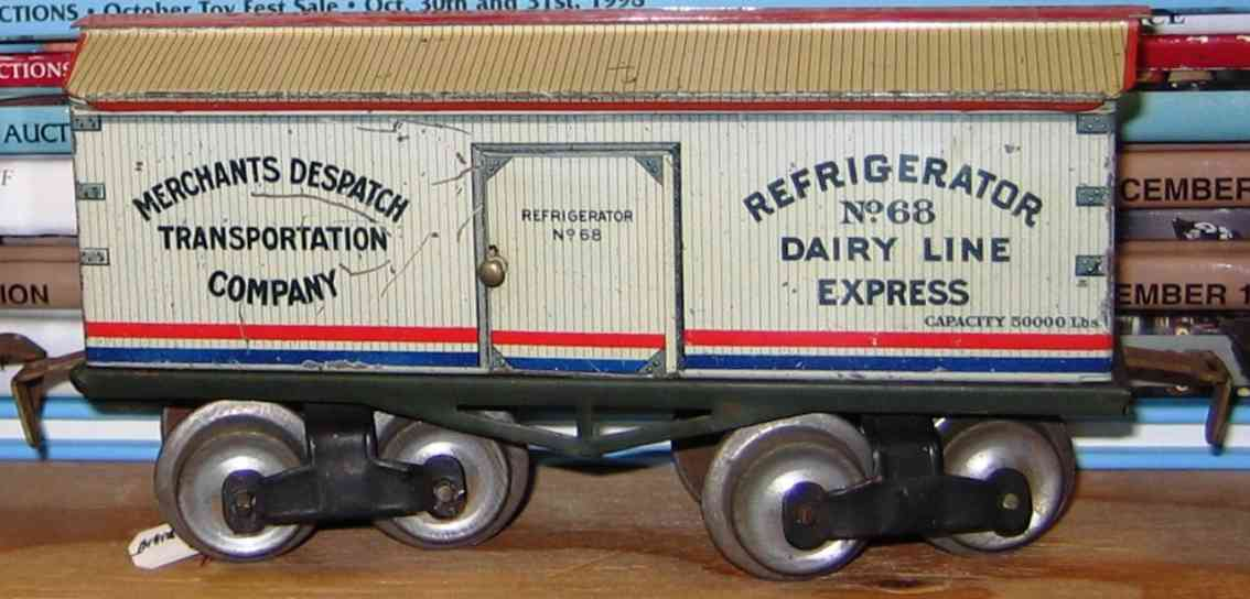 ives 68 (1910) railway toy refrigerator car lithographed non-embossed frame, shellacke