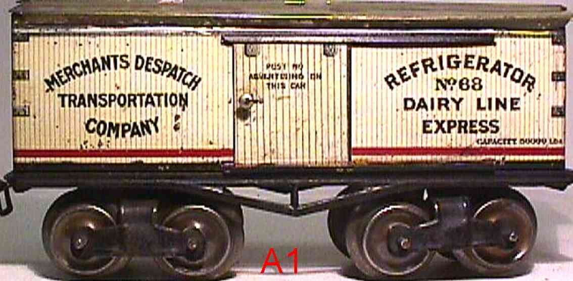 ives 68 (1913) railway toy refrigerator car lithographed non-embossed frame, shellacke