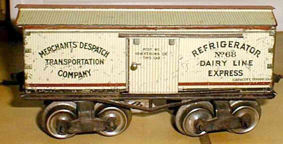 ives 68 (1915) railway toy refrigerator car lithographed non-embossed frame, shellacke