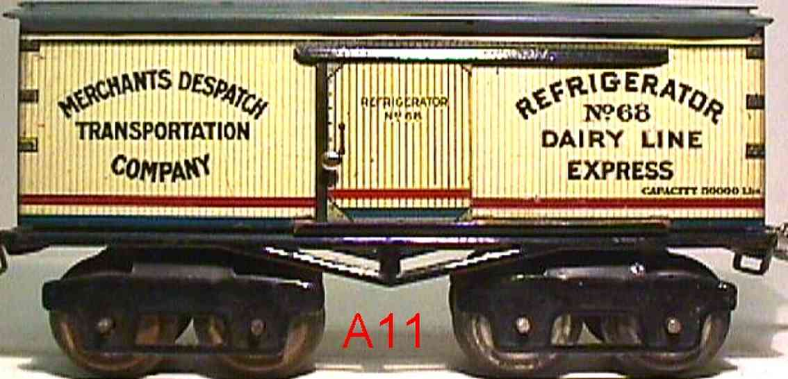ives 68 (1923) railway toy refrigerator car lithographed non-embossed frame, shellacke