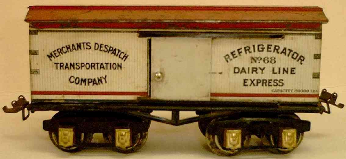 ives 68 (1928) railway toy refrigerator car lithographed non-embossed frame, shellacke
