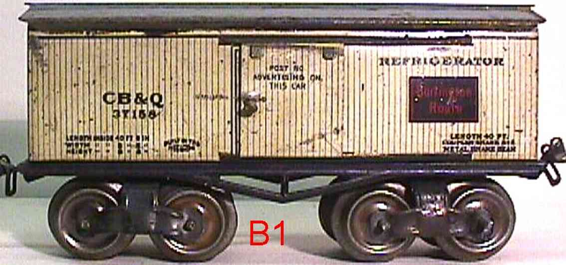 ives 68 CB&Q (1913) railway toy refrigerator car lithographed non-embossed frame, shellacke