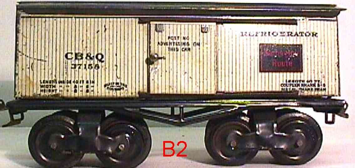 ives 68 CB&Q (1914) railway toy refrigerator car lithographed non-embossed frame, shellacke
