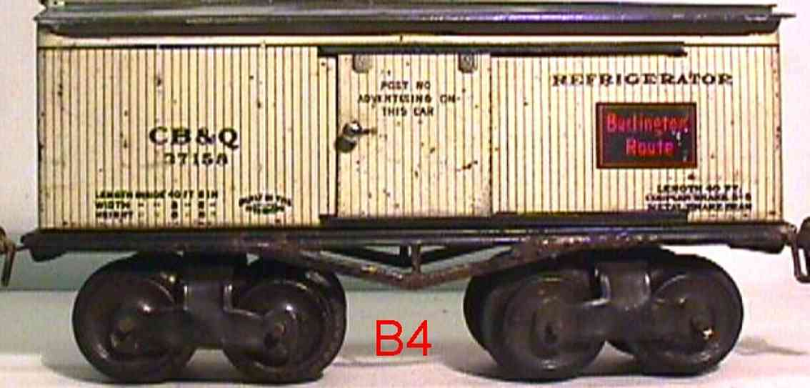 ives 68 CB&Q (1916) railway toy refrigerator car lithographed non-embossed frame, shellacke