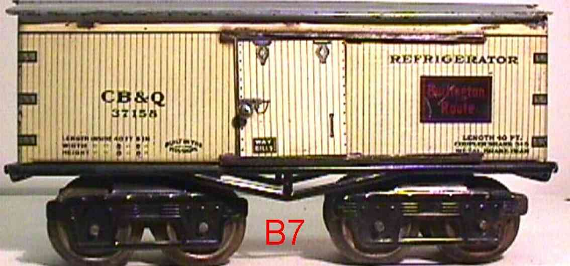 ives 68 CB&Q (1918) railway toy refrigerator car lithographed non-embossed frame, shellacke