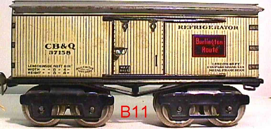 ives 68 CB&Q (1923) railway toy refrigerator car lithographed non-embossed frame, shellacke
