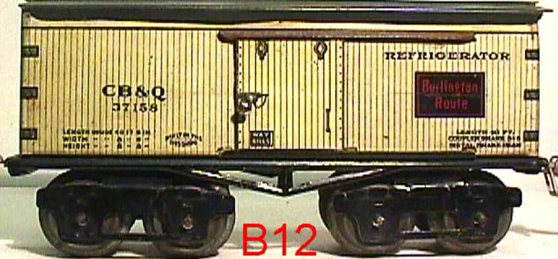 ives 68 CB&Q (1930) railway toy refrigerator car lithographed non-embossed frame, shellacke