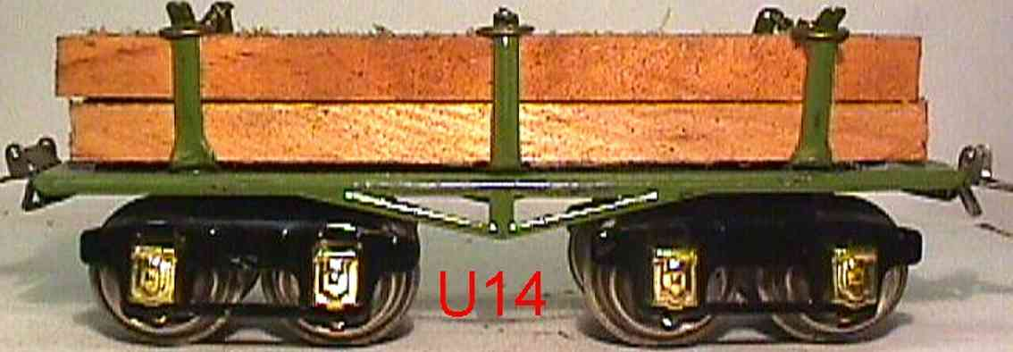 ives 69 1929 spielzeug eisenbahn holzwagen braun orange m-foemige achsblenden spur 0