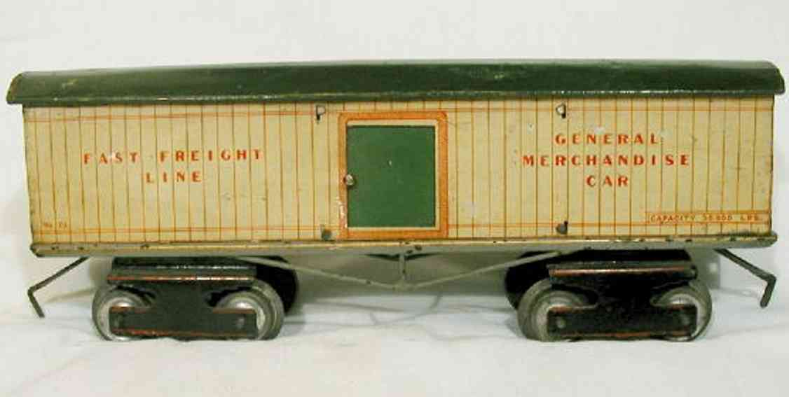 ives 73 railway toy box car comes in dark green lithographed roof. car is lithog
